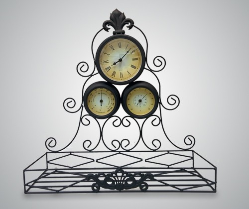 Часы настенные с термометром, гидрометром и полкой для цветов